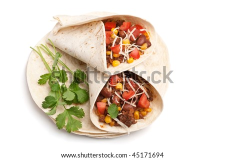 wrapped tortilla stuffed with beef chili and cilantro