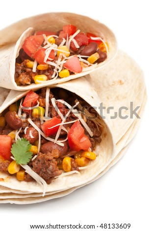 wrapped tortilla stuffed with beef chili and grated swiss cheese