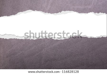 Wrapping paper with leather texture and horizontal rip - stock photo