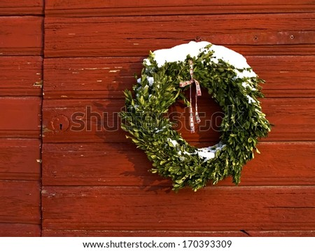 Wreath bound by green sprigs at Christmas.