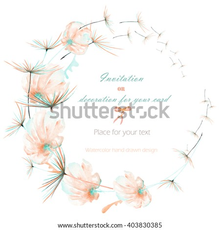 Wreath, circle frame with the watercolor pink and mint air flowers and dandelion fuzzies, hand drawn on a white background, wedding design, greeting card or invitation