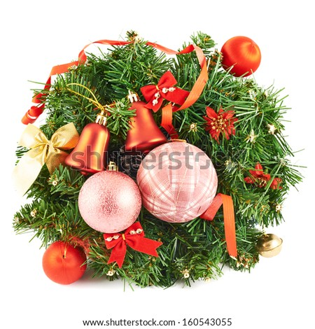 Wreath fir-tree branch christmas decoration isolated over white background