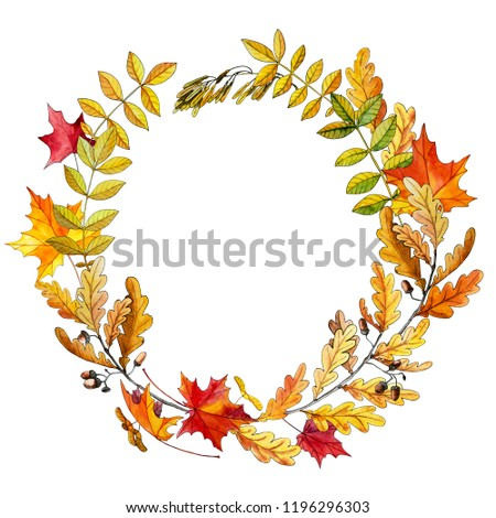 Wreath frame with watercolor autumn leaves of ash oak and maple. Hand-drawn, raster image.