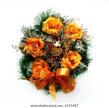 wreath, grave, funeral, cemetery, flowers, bunch, memento, bow, rosette, decoration, circle, orange, object, green, rose