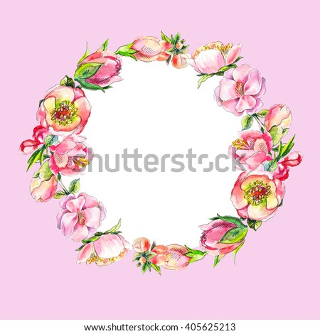 Wreath of pink watercolor flowers. Round vintage frame.