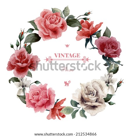 Wreath of roses watercolor can be used as greeting card invitation card for wedding birthday and other holiday and summer background