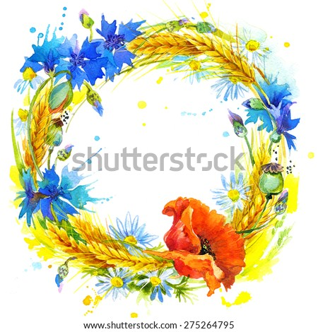 Stock Photo wreath of wild flower, wheat and wildflower. watercolor illustration