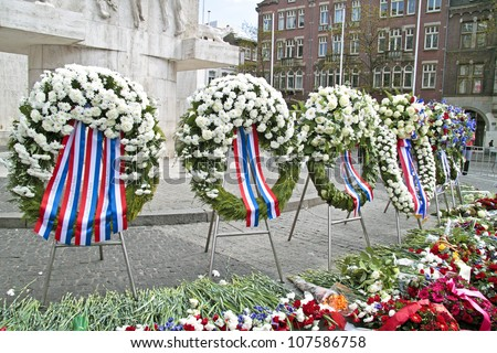 Wreaths on the Dam square during remembrance day at the 5th of may 2012 in Amsterdam the Netherlands