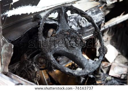 Wreck accident fire burnt wheel car vehicle junk