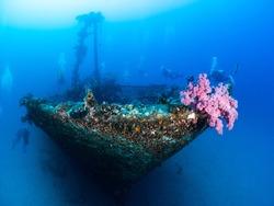 Wreck diving in Mauritius , at Gunners Island divespot