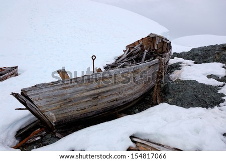 Wreck of an old abandoned whaling boat in Antarctica, which belonged to the whaling ship Governoren, a Norwegian whaler that caught fire and got aground in Foyn Harbor, Antarctica