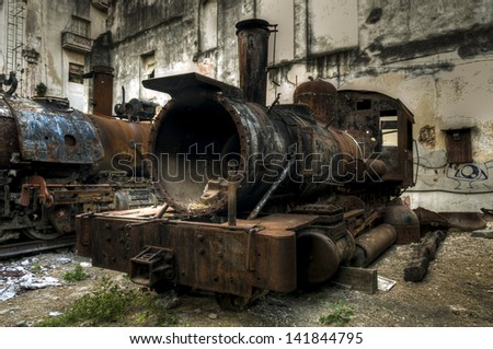 Wreck of communist locomotive, Havana, Cuba