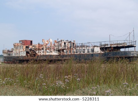 Wreck of old paddle steamer