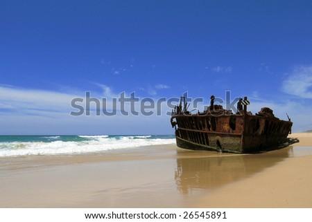 Wreck ship on a beach