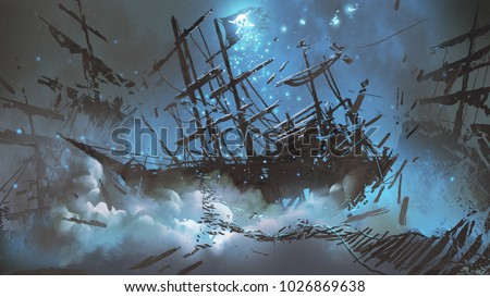 wrecked ships with pirate skull flag filled with particles and dust floating in the night sky, digital art style, illustration painting