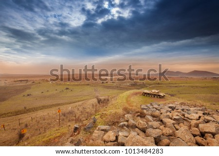 Wrecked tank in Golan Heights, Israel #1013484283