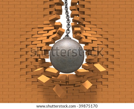 Wrecking ball destroying the brick wall