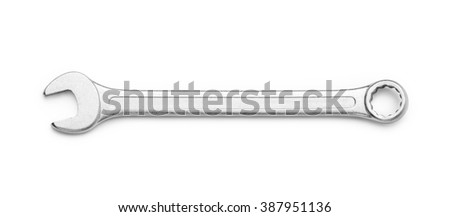 Wrench isolated on white background. Top view. Clipping path included.