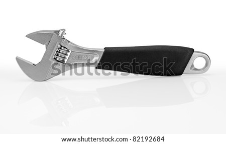 Wrench with a black handle. isolated on white background.