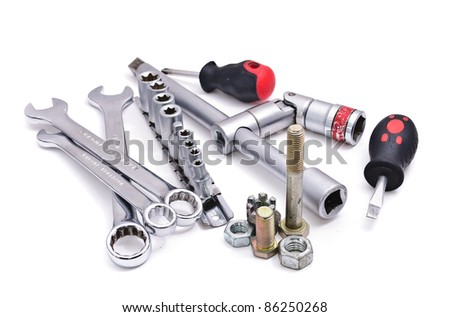 Wrenches of various sizes. Isolated on white background
