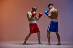 Wrestling of two fighting males boxers standing in stance in red light in studio, martial arts, mixed fight concept