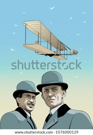 Wright Brothers, First flight illustration in line art.