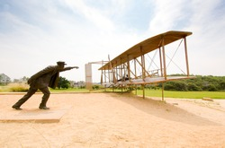 Wright Brothers National Memorial, first flight statue
