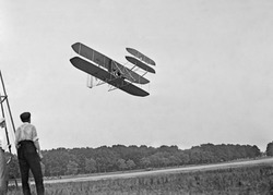Wright's airplane in Army trial flights at Fort Meyer Virginia in July 1909. In 1908 the Wright Brothers contracted with the Army to develop an a two-seater paid 25 000 600 000 is 2010 equivalent.