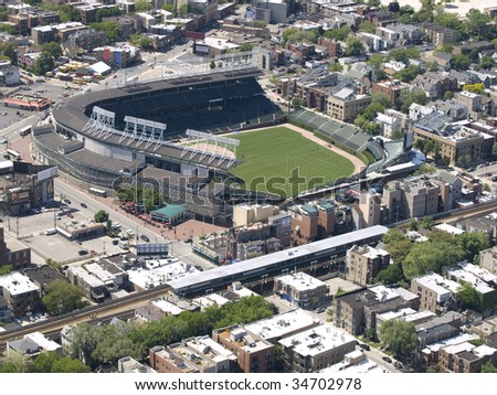 wrigley field baseball park chicago illinois aerial