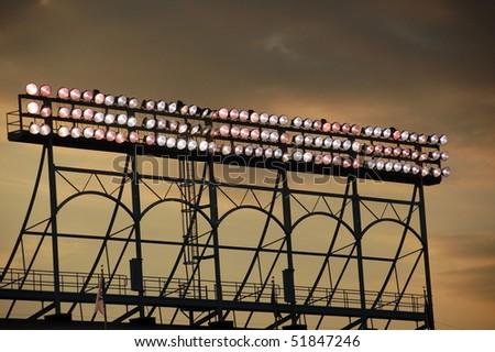 Wrigley Field lights - stock photo