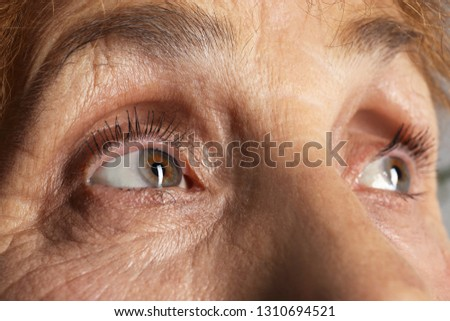 Wrinkled face of elderly woman, closeup of eyes #1310694521