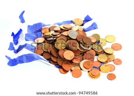 Wrinkled Greek flag burried under Euro coins against a white background