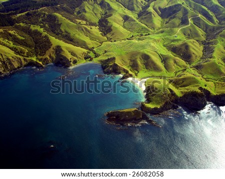 Wrinkled Green Appearance of Hills and Mountains along the coastline of Northland, New Zealand
