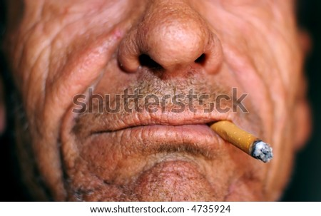 wrinkled mouth and cigarette