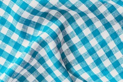 Wrinkled Natural Linen Plaid Fabric Abstract Background Texture, Blue And White Colors.
