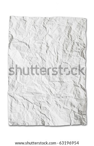 wrinkled paper texture isolated on white background