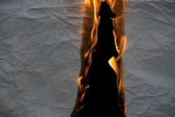 Wrinkled paper that was burning on fire on a black background
