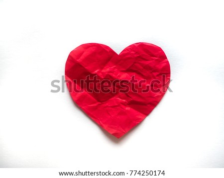 Wrinkled Red Heart Made Of Paper On White Background The Symbol Of