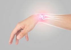 wrist bones injury gray background wrist pain