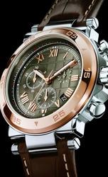 Wrist men's watch on a black background.