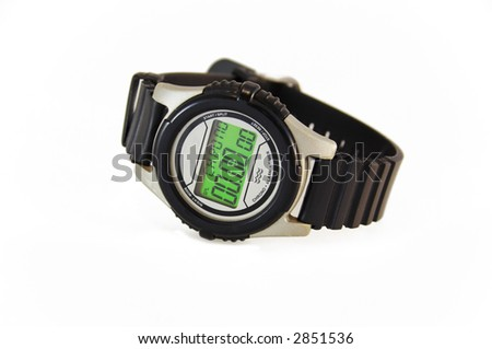 wrist-watch for sport on white surface with soft shadow