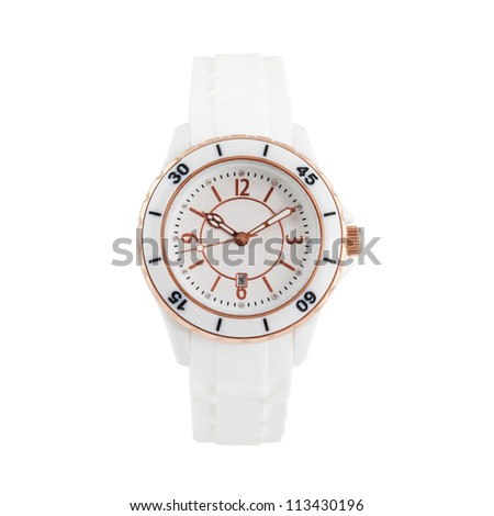 wrist watch isolated on white - stock photo