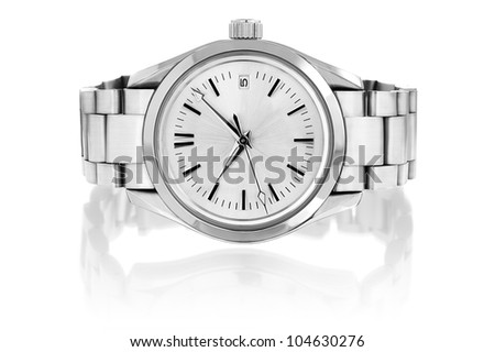 Wrist watch isolated on white background.