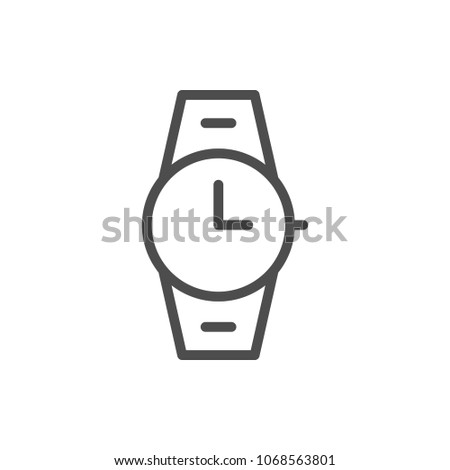 Wrist watch line icon isolated on white