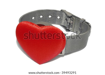 Wrist watch with red heart instead of clock plate isolated on the white