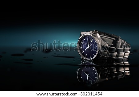 Wrist watch with water drops and a reflection on the ground, table top photography studio.