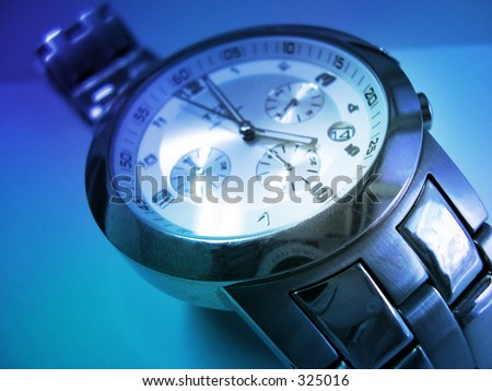 Wristwatch, blue tint. Close-up