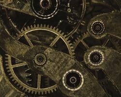 Wristwatch mechanism. Macro photo of wristwatch mechanism, featuring gearwheel, and jewels.