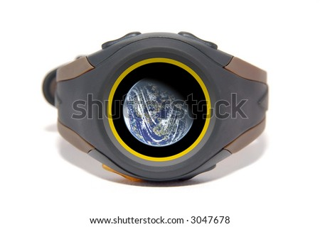 Wristwatch with globe on display. The display image is also customizable