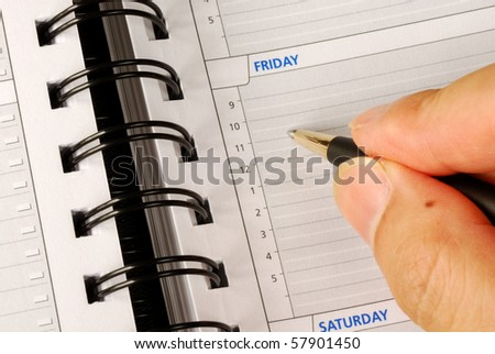 Write down what to do on Friday in the day planner